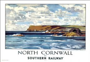 North Cornwall, Pentire Head, Padstow. SR Vintage Travel poster by Norman Wilkinson